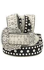Nocona® Ladies Black/White Hair Belt on Calf with Clear Crystals