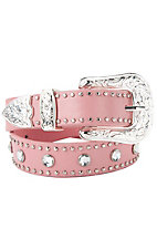 Nocona® Girl's Pink w/ Silver Studs and Rhinestones Belt