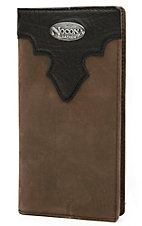Nocona® Distressed Brown with Chocolate Scallop Mens Rodeo Wallet/Checkbook Cover