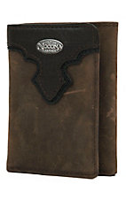 Nocona® Distressed Brown with Chocolate Scallop Tri-Fold Wallet