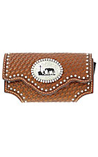 Nocona® Brown Leather Tooled Basket Weave Praying Cowboy Cell Phone Case