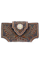 Nocona Brown Tooled with Rhinestone Concho Cell Phone Case