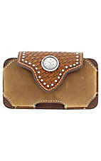 Nocona® Bay Brown Leather with Basket Weave Flap and Round Concho Cell Phone Case