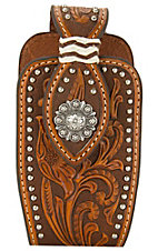 Nocona® Brown Leather Floral Tooled with Silver Concho and Studs Cell Phone Case
