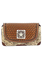 3-D Belt Company® Brown Basket Weave with Brindle Hair & Star Concho Cell Phone Case