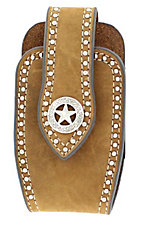 Nocona® Brown Leather with Silver Star Concho and Studs Cell Phone Case