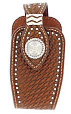 Nocona® Brown Leather Floral Tooled with Silver Concho Cell Phone Case