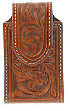 Nocona® Brown Leather Floral Tooled Cell Phone Case
