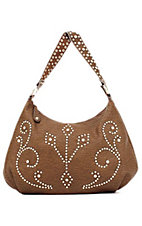 M&F® Nocona™ Ladies Brown with Studs and Rhinestones Zip Top Handbag