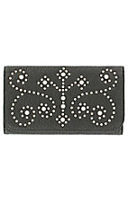 M&F® Nocona™ Ladies Black Studded Cross and Scroll Flap Wallet