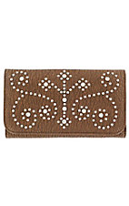 M&F® Nocona™ Ladies Brown Studded Cross and Scroll Flap Wallet