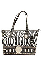 Nocona® Ladies Black and White Zebra Print w/ Round Concho & Silver Crystals Purse