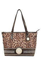 Nocona® Ladies Brown Leopard Print w/ Round Concho & Silver Crystals Purse