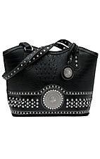 Nocona® Ladies Black Faux Gator with Round Concho and Silver Crystals Handbag