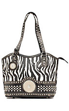 Nocona® Ladies Black and White Zebra with Round Concho and Silver Crystals Handbag