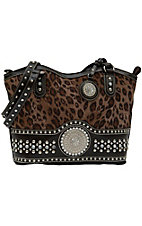Nocona® Ladies Brown Leopard Print with Round Concho and Silver Crystals Handbag