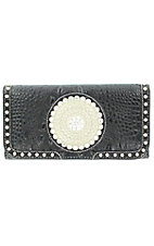 Nocona® Ladies Black Faux Gator with Round Concho and Silver Crystals Wallet
