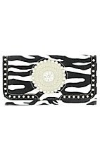 Nocona® Ladies Black and White Zebra with Round Concho and Silver Crystals Wallet