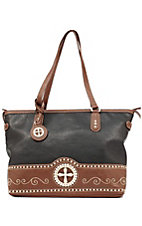 Nocona® Ladies Black with Brown Cross Concho Rectangle Handbag