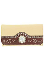 Nocona® Ladies Tan and Brown with Berry Concho and Silver Rhinestones Wallet