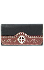 Nocona® Ladies Black and Brown with Cross Concho and Silver Rhinestones Wallet