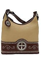 Nocona® Ladies Tan with Brown Cross Concho Handbag