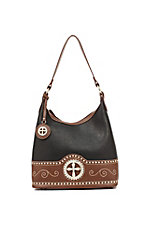 Nocona® Ladies Black with Brown Cross Concho Handbag