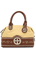 Nocona® Ladies Tan with Brown Cross Concho Satchel Handbag
