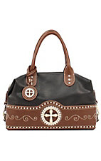 Nocona® Ladies Black with Brown Cross Concho Satchel Handbag