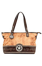 M&F® Nocona™ Ladies Brown and Faux Brindle with Star Concho Rectangle Handbag