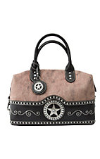 M&F® Nocona™ Ladies Brown and Faux Brindle with Star Concho Satchel Handbag