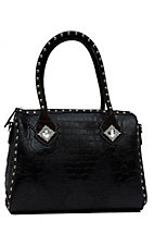 Nocona® Black & Brown Croc Faux Leather w/ Diamond Concho Large Shoulder Bag