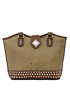 Nocona® Brown and Tan Faux Leather w/ Rhinestones Handbag