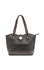 Nocona® Black & Brown Croc Faux Leather w/ Diamond Conchos and Rhinestones Handbag