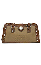 Nocona® Brown and Tan Faux Leather w/ Rhinestones Snap Top Handbag