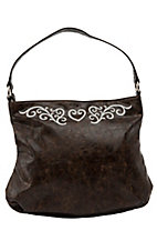 Nocona® Brown Faux Leather w/ Scroll & Heart Design Shoulder Bag