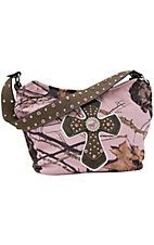 Nocona® Mossy Oak Pink Camo w/ Cross & Rhinestones Hobo Bag