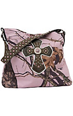 Nocona® Mossy Oak Pink Camo w/ Cross & Rhinestones Bucket Bag