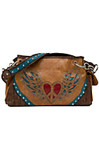 Nocona® Tan Faux Leather w/ Heart & Wings Design Satchel