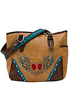 Nocona® Tan Faux Leather w/ Heart & Wings Design Small Tote