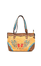 Nocona® Tan Faux Leather w/ Heart & Wings Design Tote