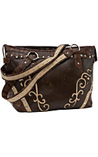 Blazin Roxx® Ladies Brown w/ Tan Swirls & Crystals Tote
