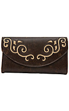 Blazin Roxx® Ladies Brown w/ Tan Swirls Flap Wallet