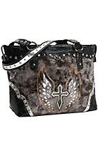 Blazin Roxx® Ladies Brown & Grey w/ Silver Winged Cross Tote
