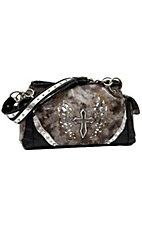Blazin Roxx® Ladies Brown & Grey w/ Silver Winged Cross & Crystals Satchel