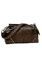 Blazin Roxx® Ladies Brown w/ Winged Cross & Crystals Satchel