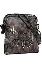 Blazin Roxx® Ladies Brown & Grey w/ Silver Winged Messenger Purse