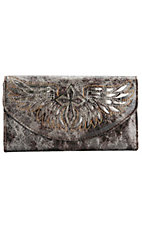 Blazin Roxx® Ladies Brown & Grey w/ Silver Winged Cross Flap Wallet
