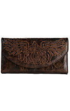 Blazin Roxx® Ladies Brown w/ Brown Glitter Winged Cross Flap Wallet