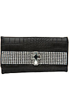 Nocona® Ladies Black Croc Print w/ Rhinestones & Cross Center Flap Wallet